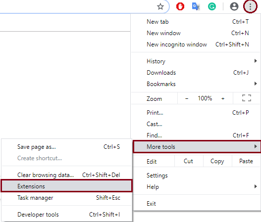 Disable Browser Extensions to Fix Err_Cache_Miss Error in Google Chrome